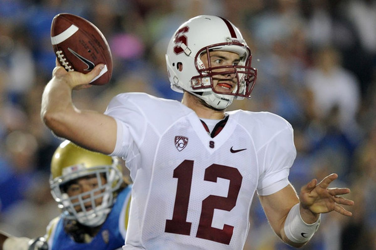 PASADENA CA - SEPTEMBER 11:  Andrew Luck #12 of Stanford passes in the pocket against UCLA during the first quarter at Rose Bowl on September 11 2010 in Pasadena California.  (Photo by Harry How/Getty Images)