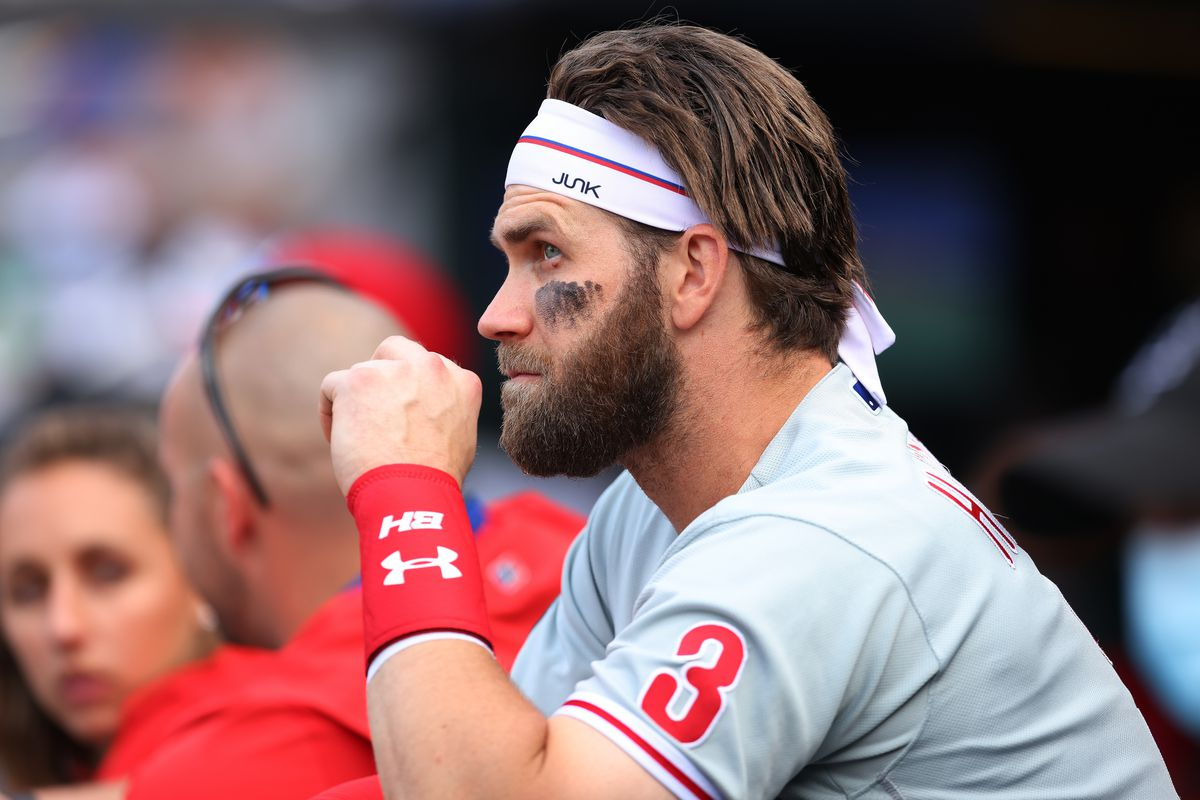 Bryce Harper of the Philadelphia Phillies in action against the New York Mets during game one of a doubleheader at Citi Field on June 25, 2021 in New York City.