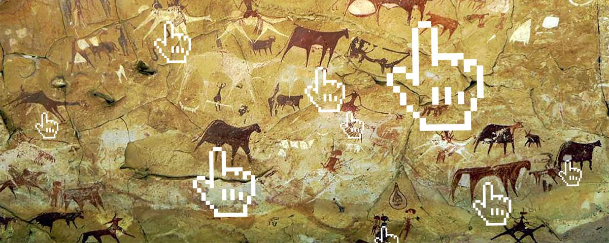Photo-illustration of animal renderings on the walls of Lascaux caves with digitized cursors.