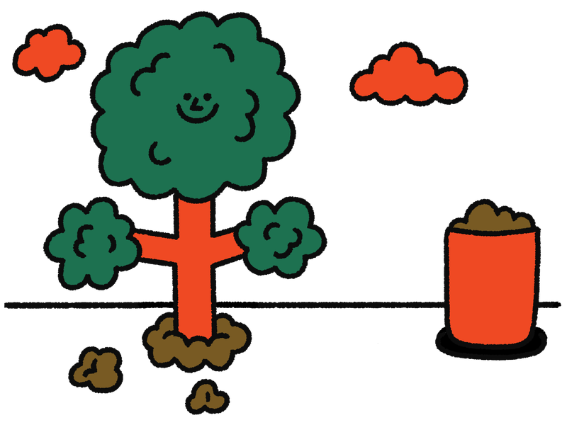 A freshly planted tree with a happy face stands next to a bin full of soil. This is an illustration.