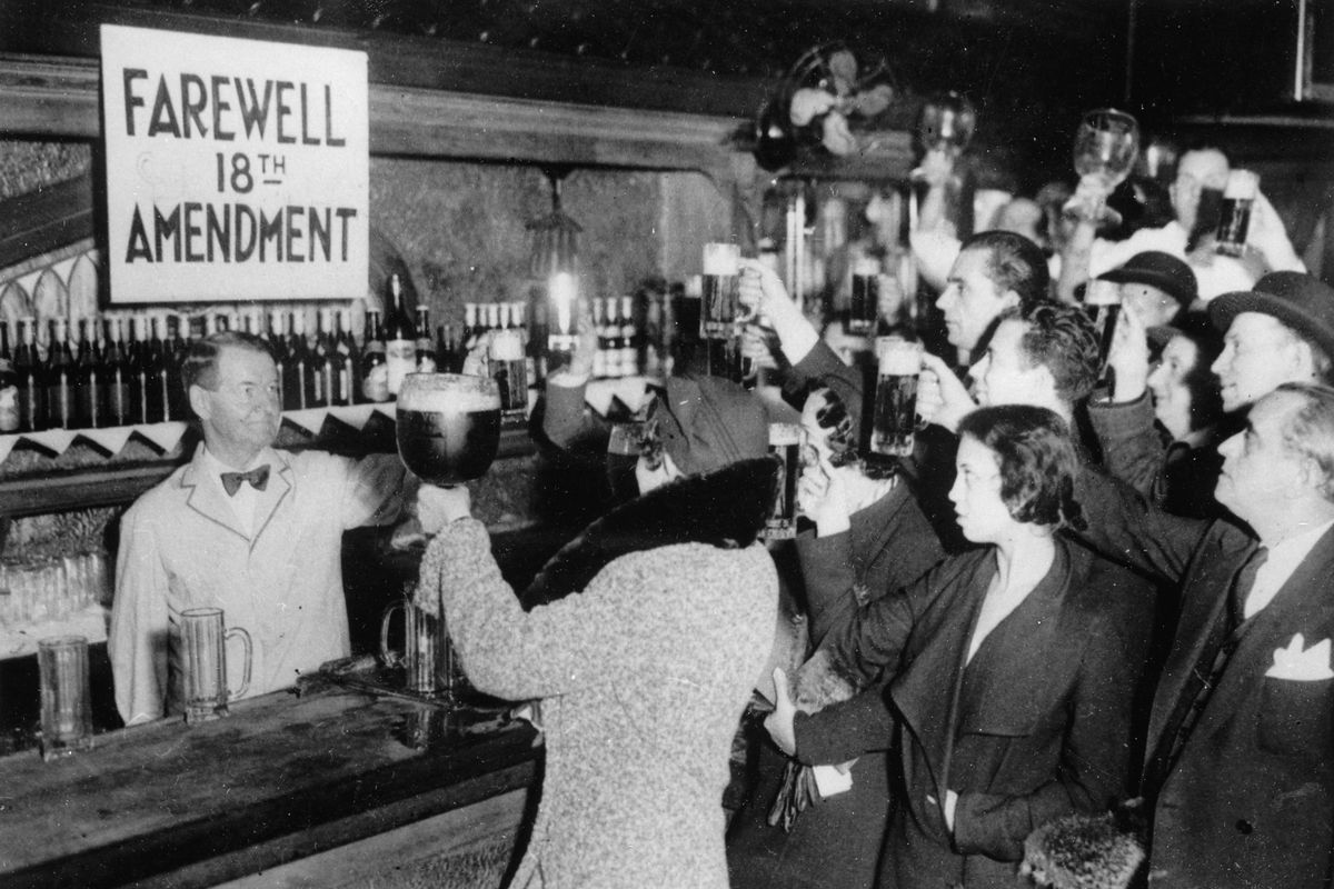 People toast to the end of Prohibition.