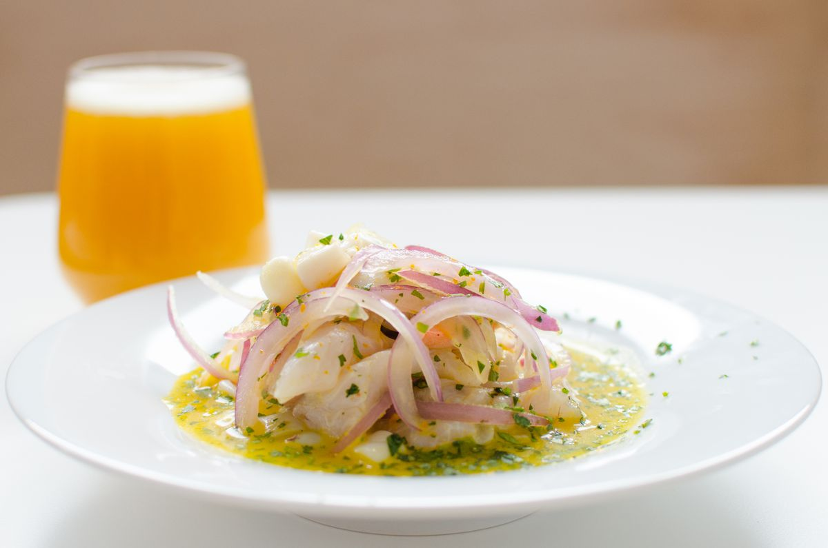 Ceviche and a beer at Celeste