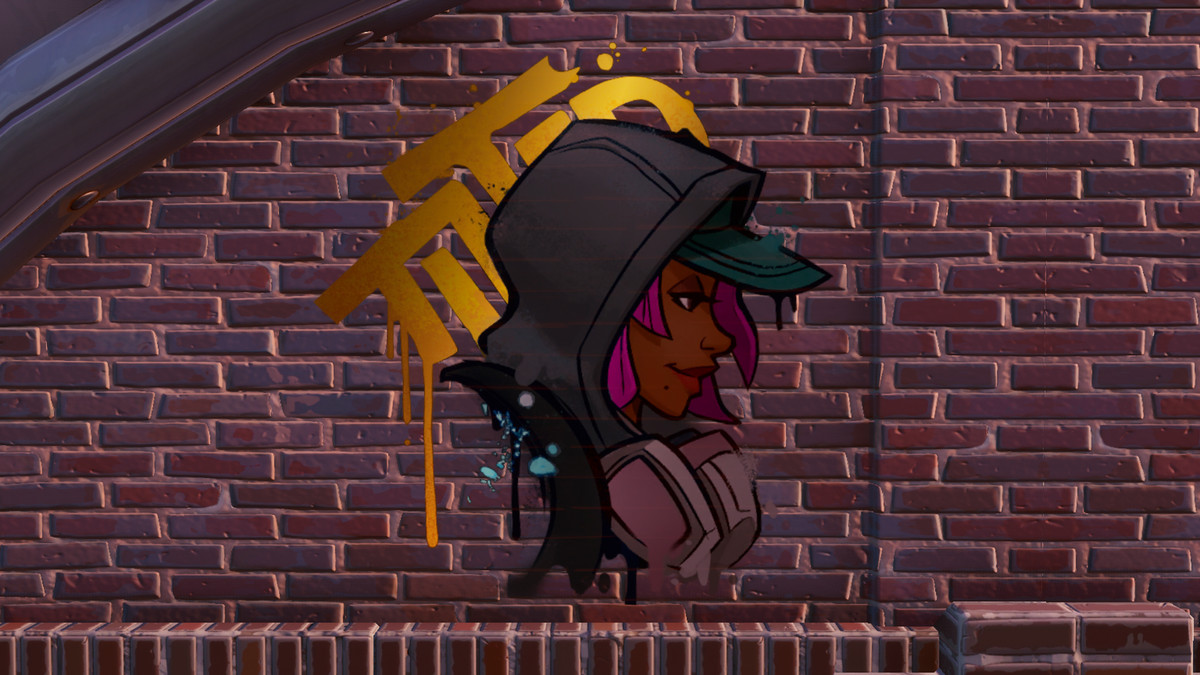 A painting of a graffiti artist in Fortnite