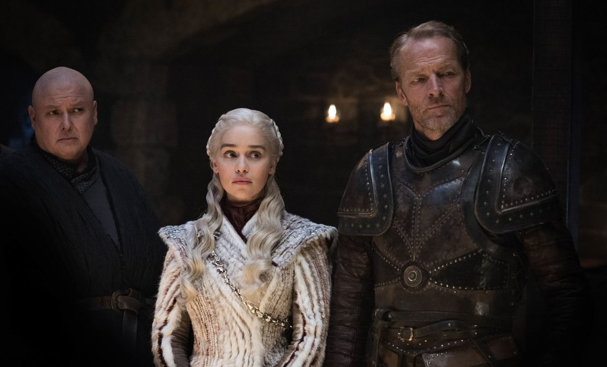 Daenerys (Emilia Clarke), flanked by Varys (Conleth Hill) and Jorah Mormont (Iain Glen) in Game of Thrones.
