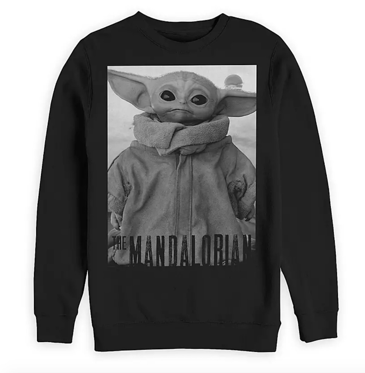 A sweatshirt featuring a black-and-white image of Baby Yoda