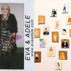 """""""Before we hit the third-hour mark of meandering from booth to booth, we spotted the renowned fashionistas and performance artists, <b>Eva & Adele</b>. Continuing with the theme offashion, we took note of Gideon Rubin's paintings of pop-culture icons suc"""