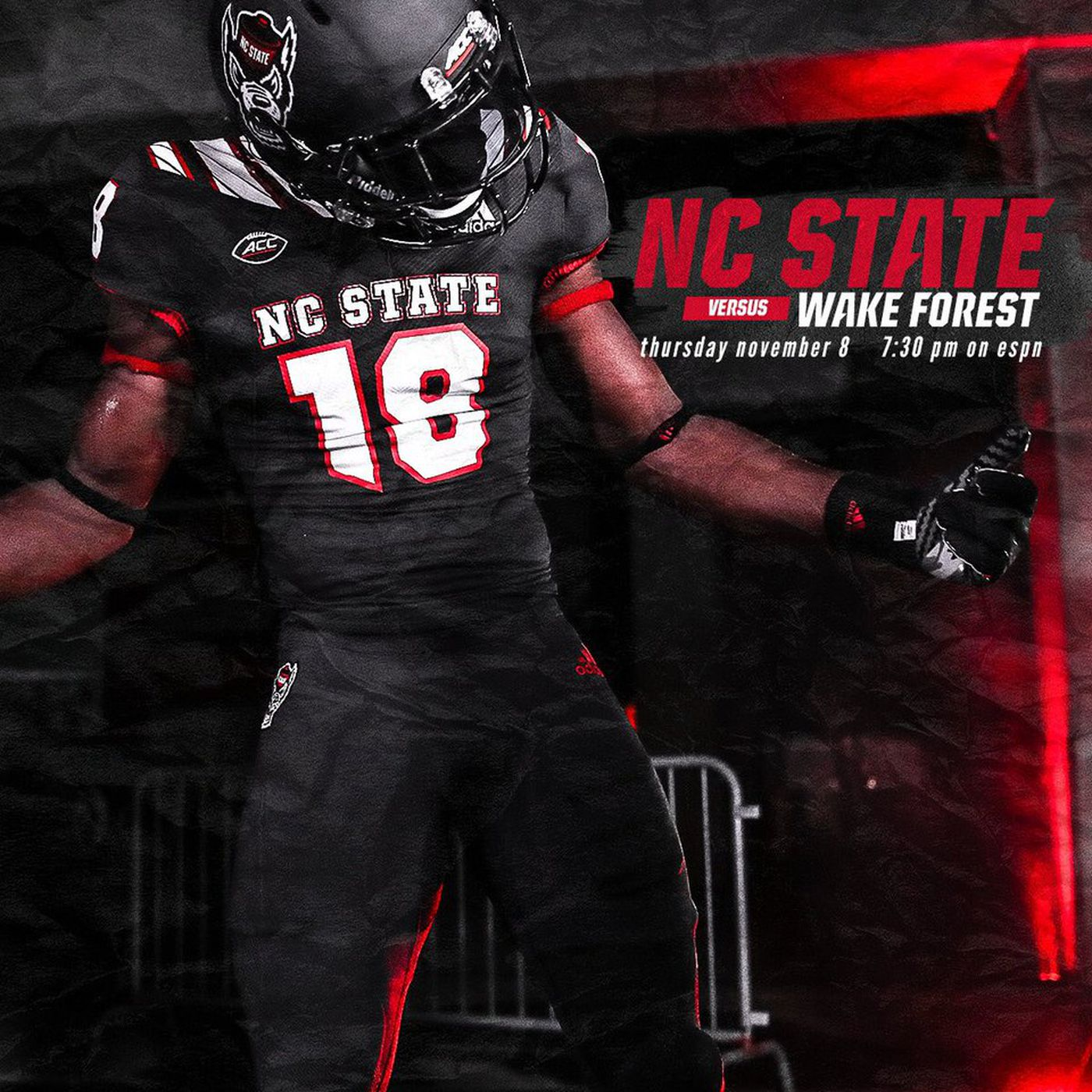 NC State wearing new black alternate uniforms against Wake Forest - Backing  The Pack 089385924