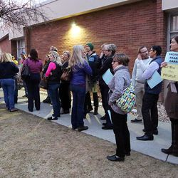 Crowds line up at Brighton High School for a town hall meeting with Rep. Jason Chaffetz, R-Utah, in Cottonwood Heights on Thursday, Feb. 9, 2017.