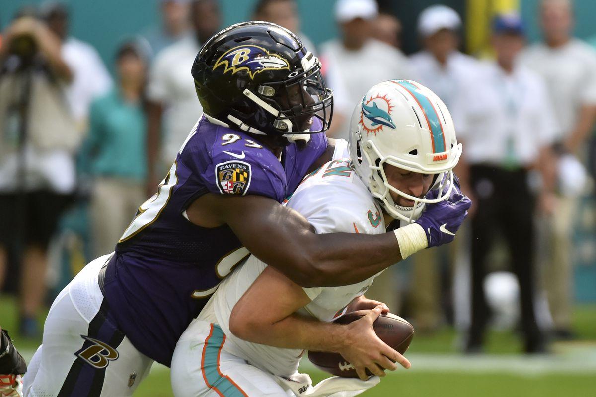 Matt Judon of the Baltimore Ravens sacks Josh Rosen of the Miami Dolphins during the fourth quarter of the game at Hard Rock Stadium on September 8, 2019 in Miami, Florida.