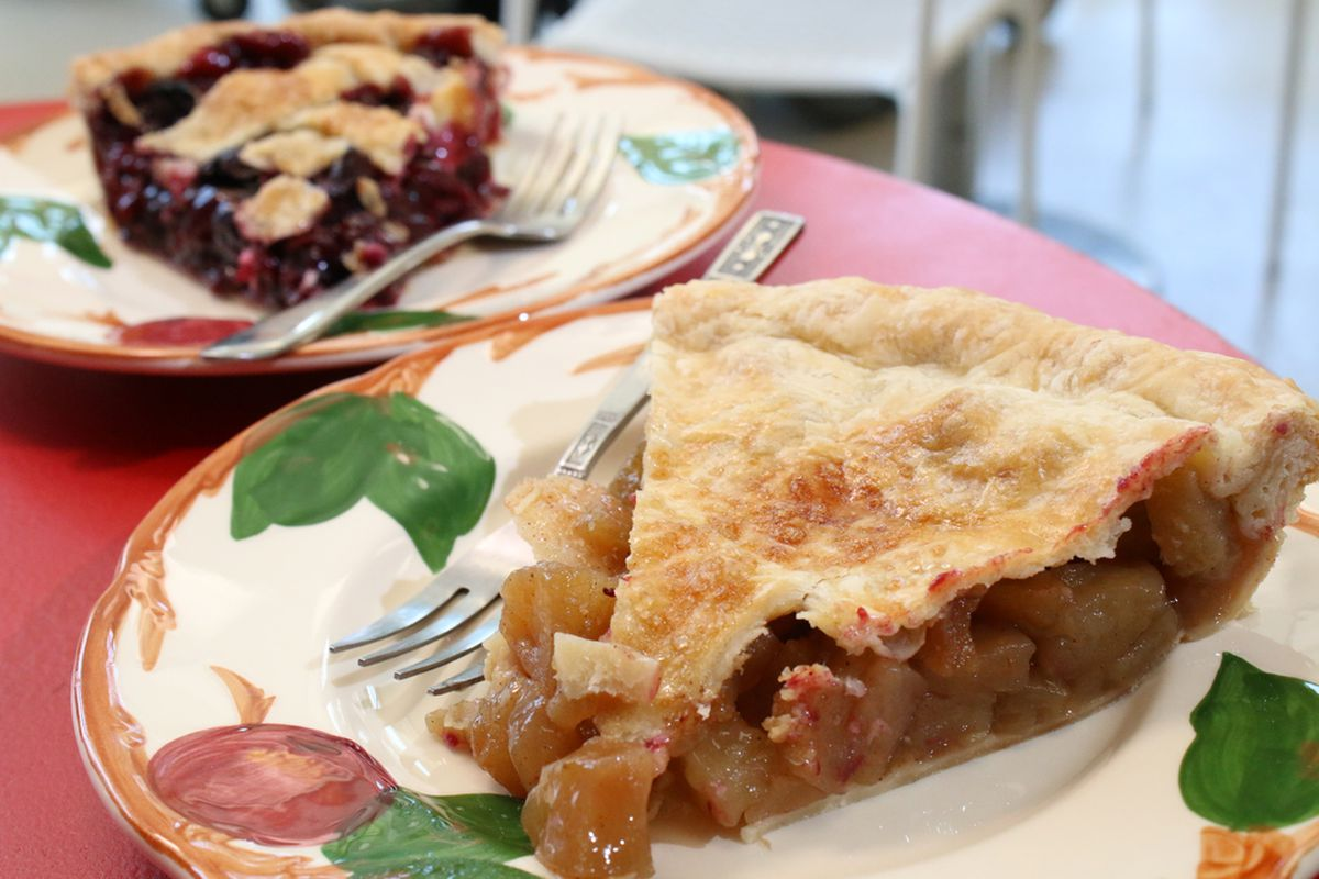 Cherry and apple pies made at Happy Apple Pie Shop.