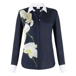 Oxford Shirt in Navy Orchid Print, $34.99