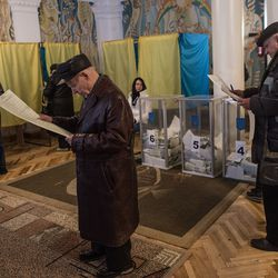 A parliamentary election in Kiev, Ukraine on October 26, 2014