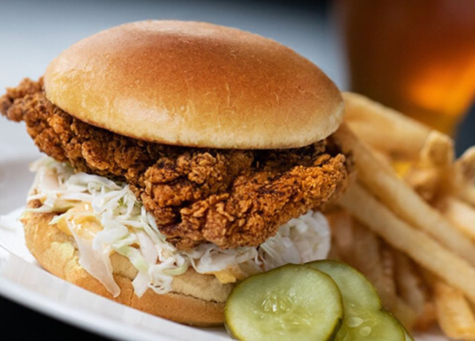 Yard House is including a Nashville hot chicken sandwich on its current takeout menu.