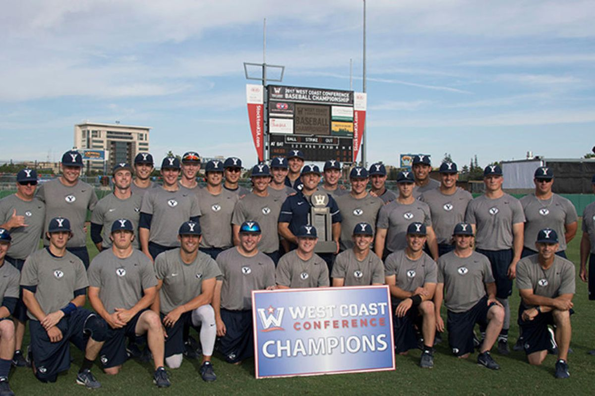 The BYU baseball team poses after winning the West Coast Conference title.