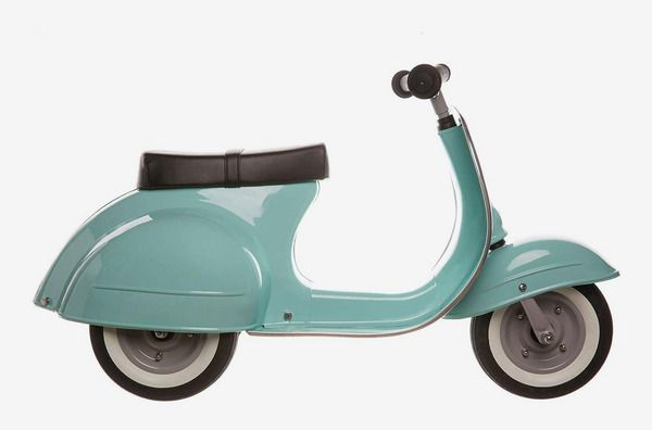 A product shot of a teal Primo scooter