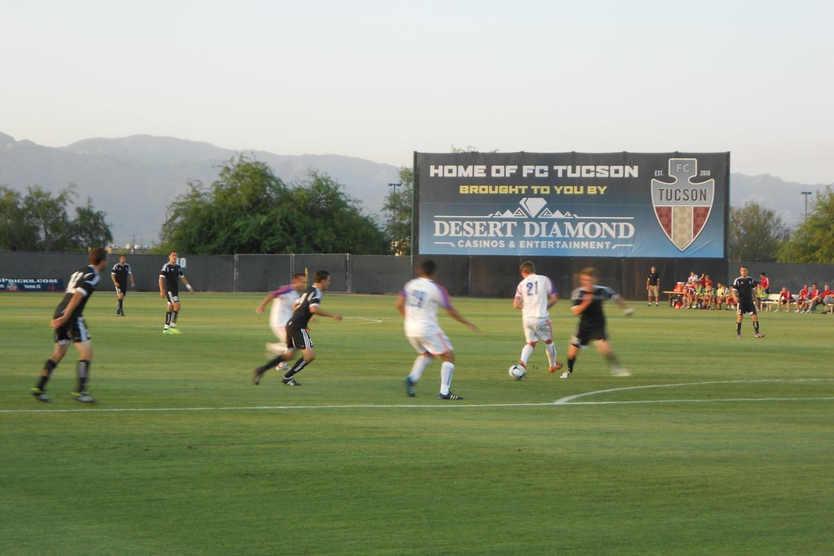 FC Tucson (in black) is on the cusp of the league playoffs in its first season of PDL play. (Photo by Jose Romero)