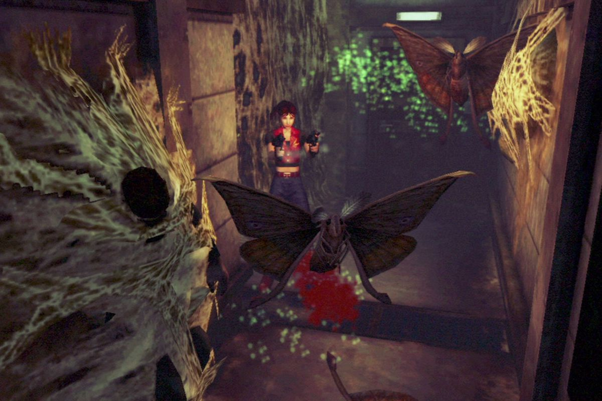 Claire Redfield shoots mutant moths in a screenshot from Resident Evil: Code Veronica X HD.