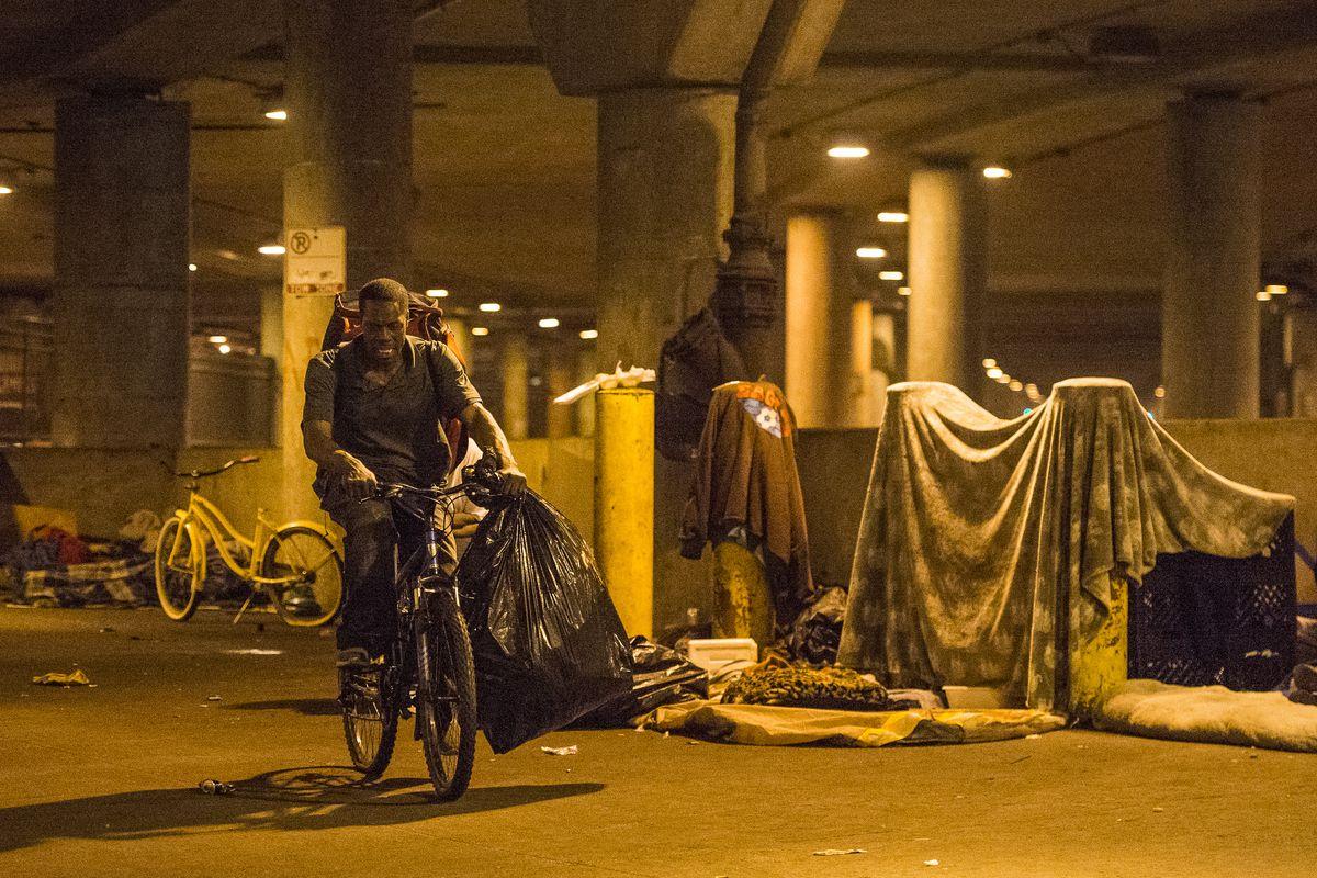 Homeless people living below Wacker Drive.