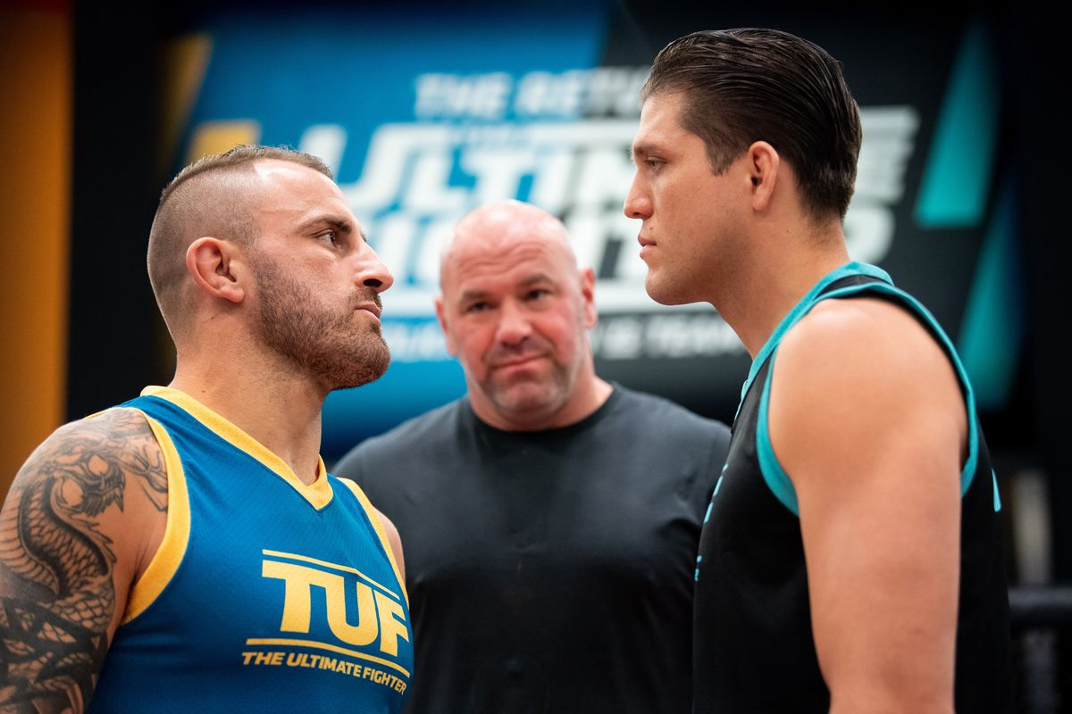 Alexander Volkanovski and Brian Ortega face off during the filming of The Return of The Ultimate Fighter at UFC APEX on May 20, 2021 in Las Vegas, Nevada