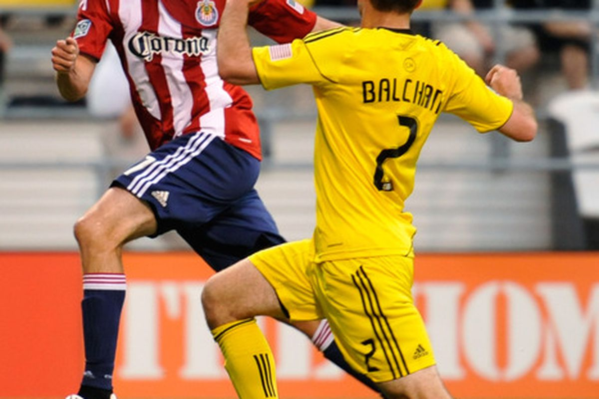 COLUMBUS, OH - MAY 28: Justin Braun #17 of Chivas USA gains control of the ball in front of Rich Balchan #2 of the Columbus Crew on May 28, 2011 at Crew Stadium in Columbus, Ohio. Columbus and Chivas USA tied 3-3. (Photo by Jamie Sabau/Getty Images)