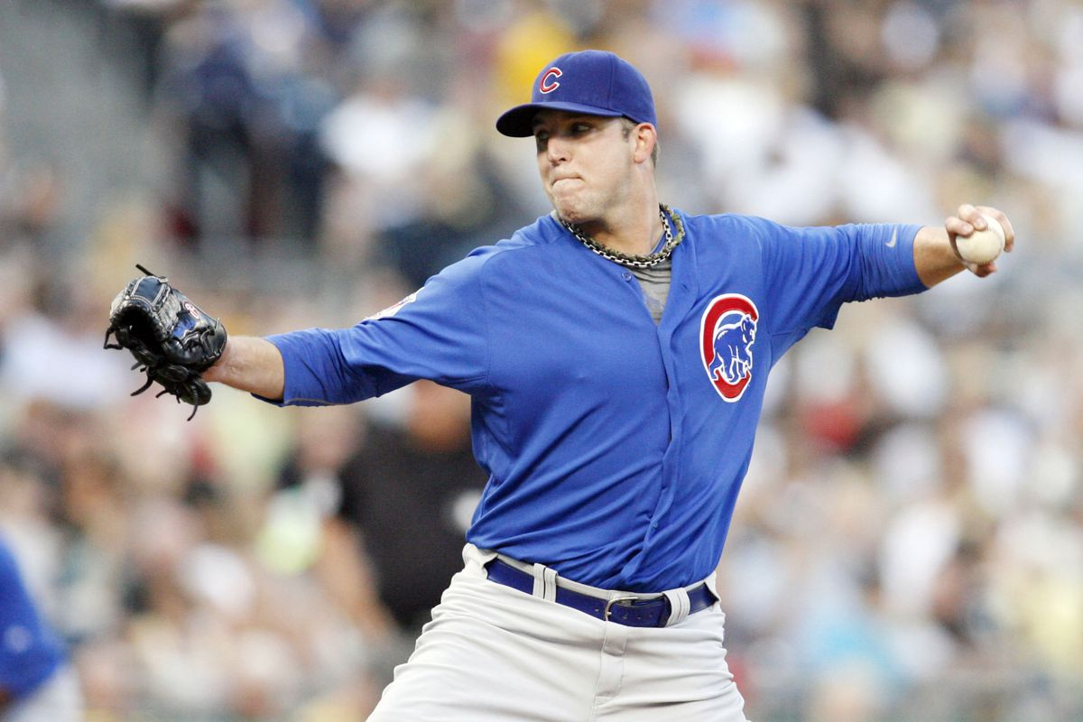 Pittsburgh, PA, USA; Chicago Cubs starting pitcher Paul Maholm pitches against the Pittsburgh Pirates at PNC Park. Credit: Charles LeClaire-US PRESSWIRE