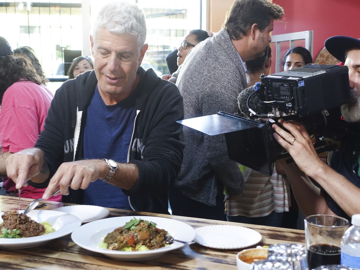Anthony Bourdain filming 'Parts Unknown' at Juhu Beach Club in Oakland, California.