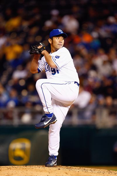 Hideo Nomo #91 of the Kansas City Royals pitches against the New York Yankees on April 10, 2008 at Kauffman Stadium in Kansas City, Missouri.