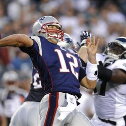 New England Patriots quarterback Tom Brady throws in the first quarter of an NFL preseason football game against the Philadelphia Eagles.