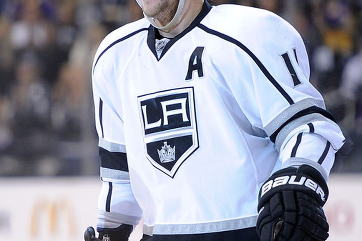LOS ANGELES, CA - OCTOBER 18:  Anze Kopitar #11 of the Los Angeles Kings smiles after a goal in a 5-0 win over the St. Louis Blues at Staples Center on October 18, 2011 in Los Angeles, California.  (Photo by Harry How/Getty Images)