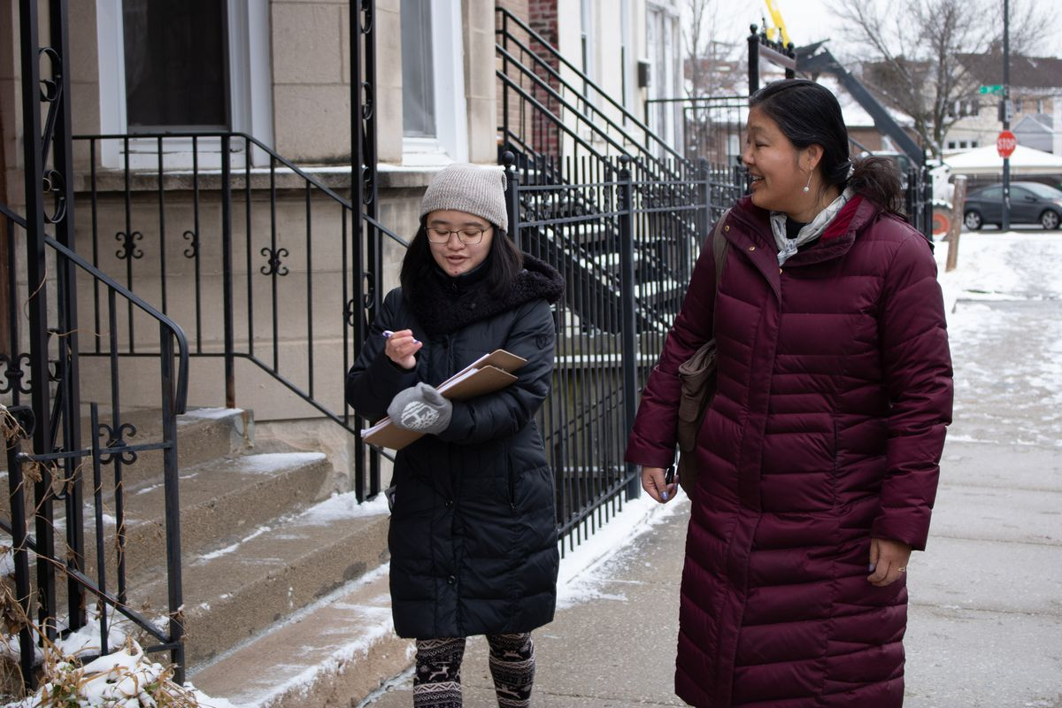 Grace Chan (right) and Michelle Gan canvass Bridgeport weeks before the 2020 U.S. Census is set to kick off.