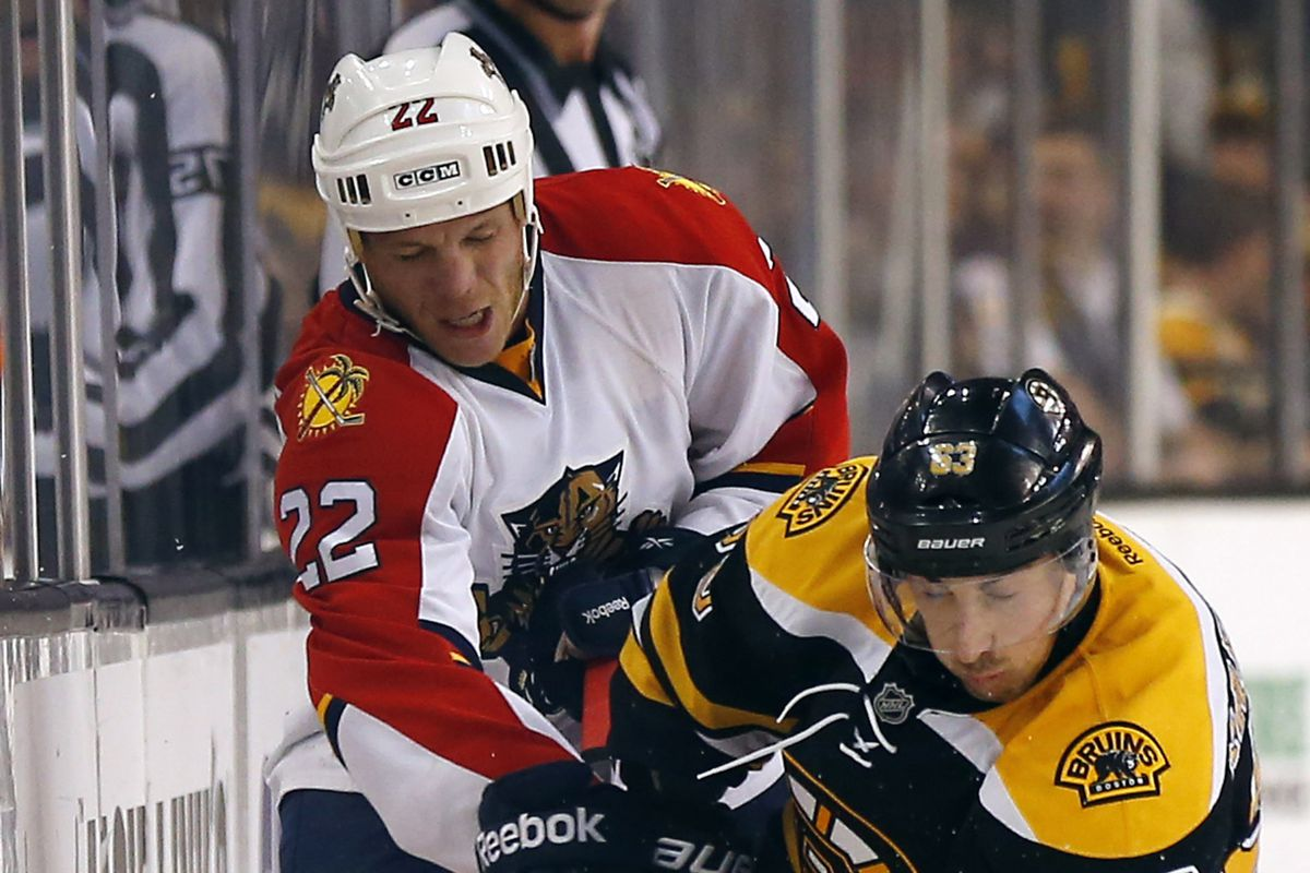 Hello, again, hello... Shawn Thornton battles with Brad Marchand along the wall.