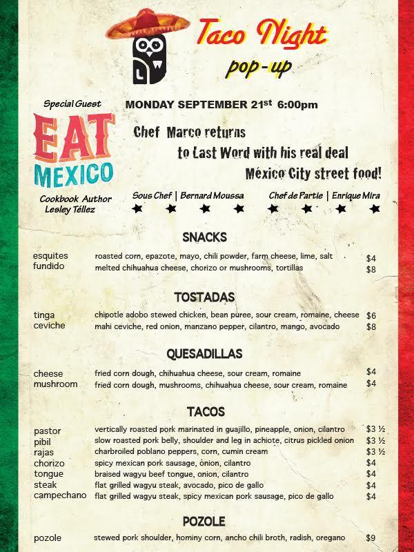 Taco Night Last Word menu