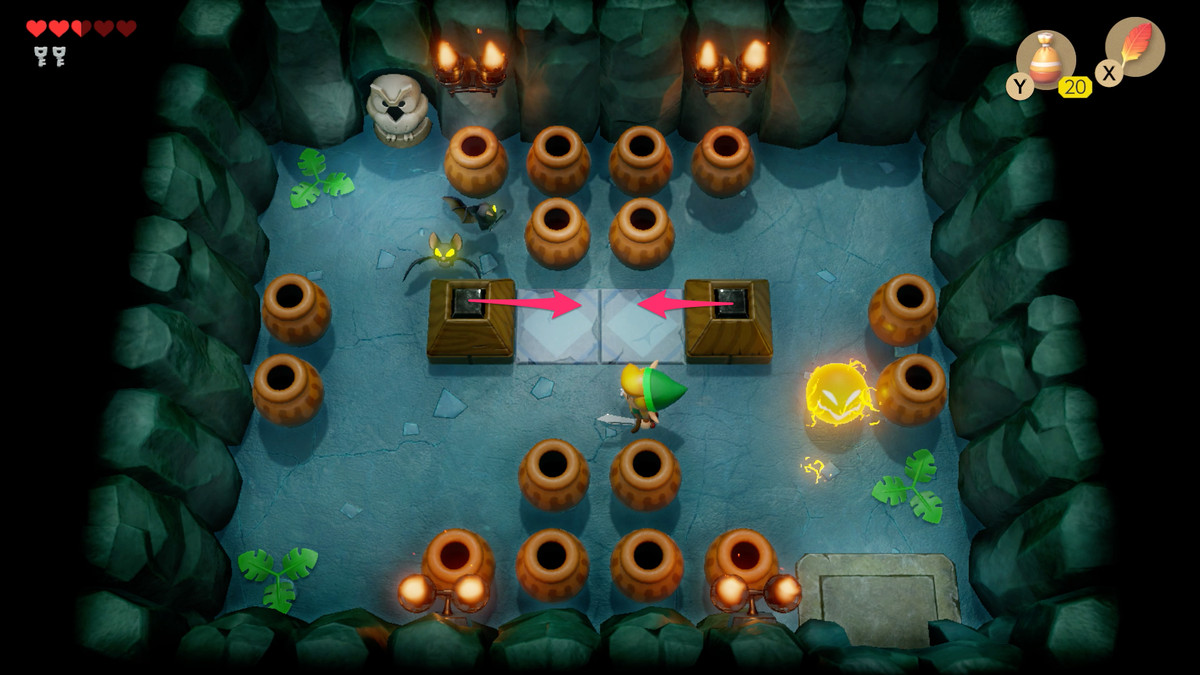 Link's Awakening Bottle Grotto push the blocks together to reveal some stairs