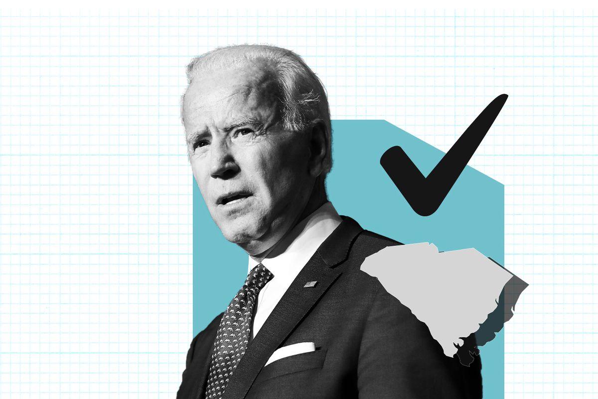 Photo illustration of Democratic presidential candidate Joe Biden.