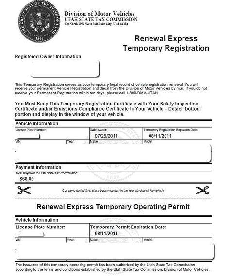 utah motor vehicle registration