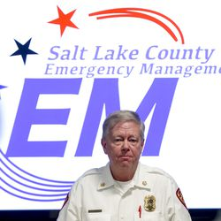 Unified Fire Chief Dan Petersen talks during a press conference at the Salt Lake County Emergency Coordination Center in South Salt Lake on Wednesday, March 18, 2020, following a 5.7 magnitude earthquakethat was centered in Magna.