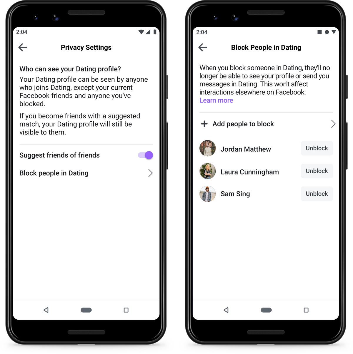 Two cellphone screens showing how privacy settings and blocking work in the Facebook Dating app.
