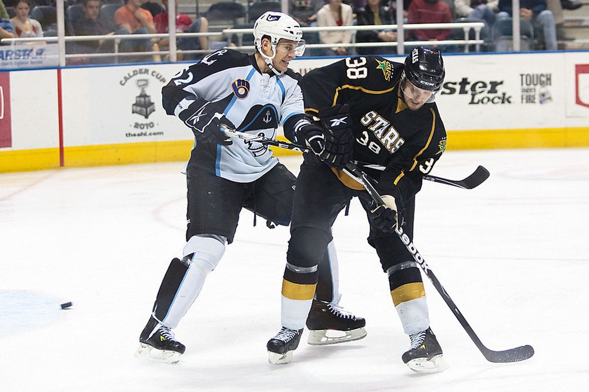 Left wing Francis Wathier takes a slash from the Milwaukee Admirals' Alex Sulzer