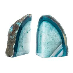 "Blue agate bookends, <a href=""http://www.baublebar.com/blue-agate-bookends.html"">$85</a>"