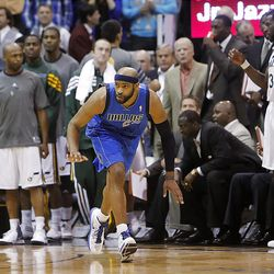 Dallas Mavericks guard Vince Carter (25) reacts after sinking a three point shot in the first overtime as the Utah Jazz and the Dallas Mavericks play Monday, April 16, 2012 in Salt Lake City.