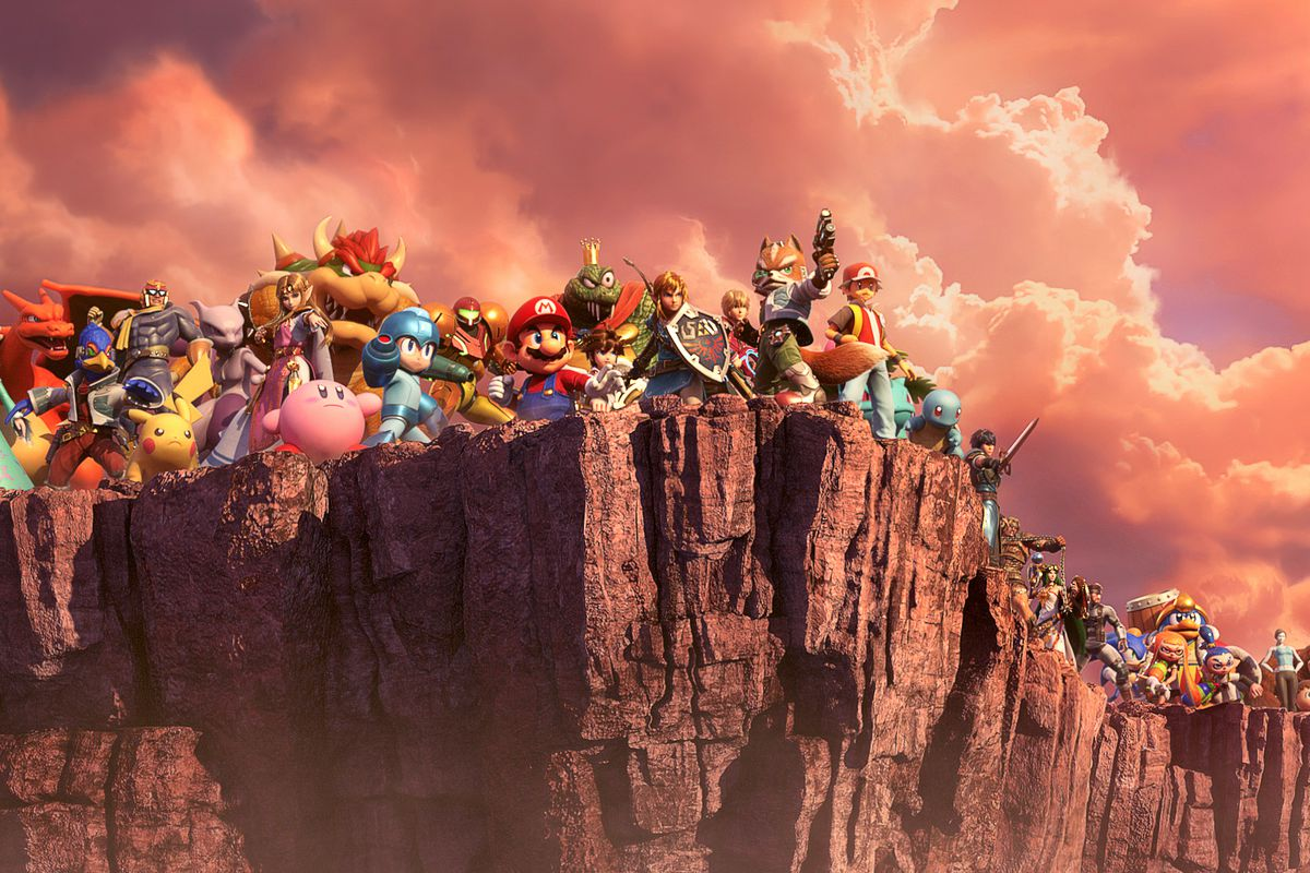 A line of Smash Brothers characters stands at the edge of a cliff