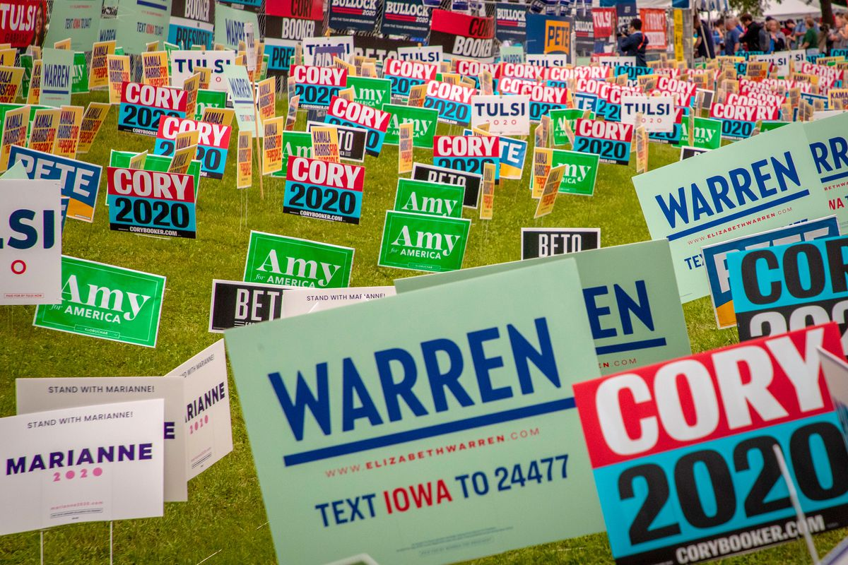 Campaign signs for various candidates