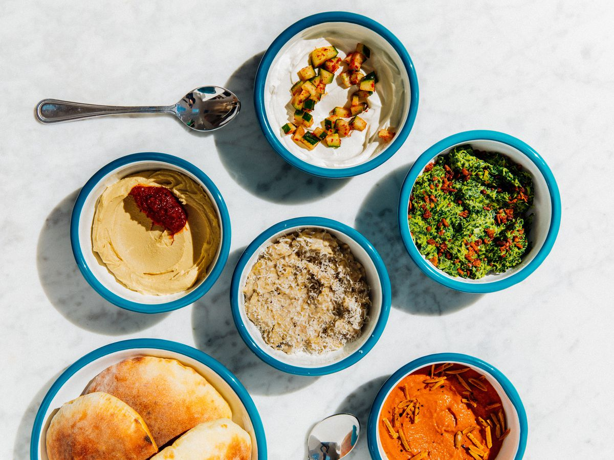 A variety of dips and spreads from the San Francisco restaurant Noosh.