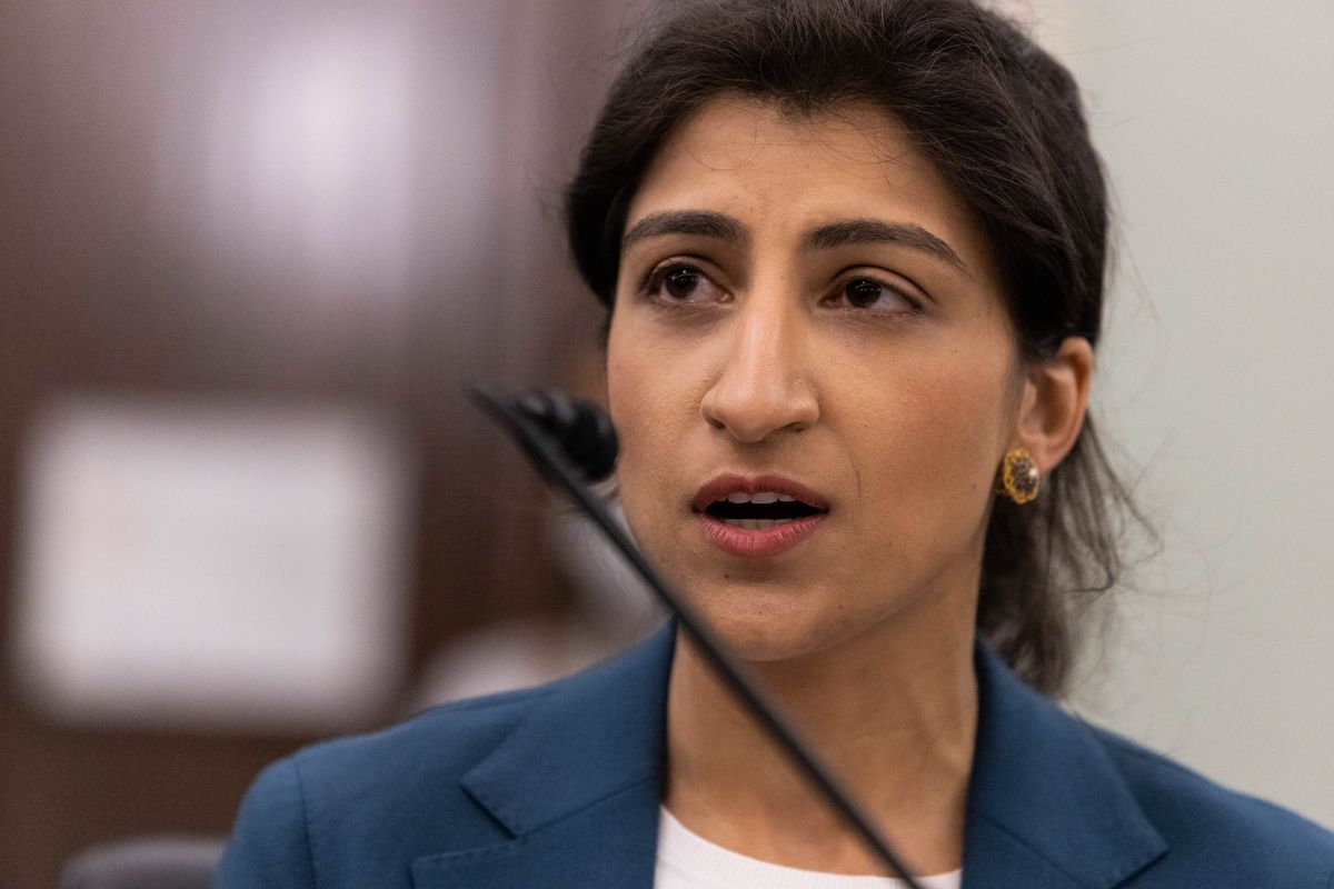 Lina M. Khan testifies during a Senate Commerce, Science, and Transportation Committee nomination hearing on Capitol Hill on April 21, 2021, in Washington, DC.