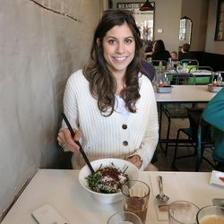 Katie with some shaved collard green salad.