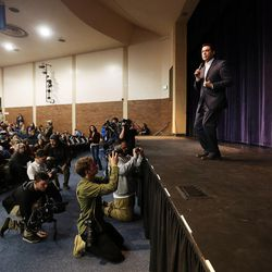 Rep. Jason Chaffetz answers a question during a town hall meeting at Brighton High School in Cottonwood Heights on Thursday, Feb. 9, 2017.