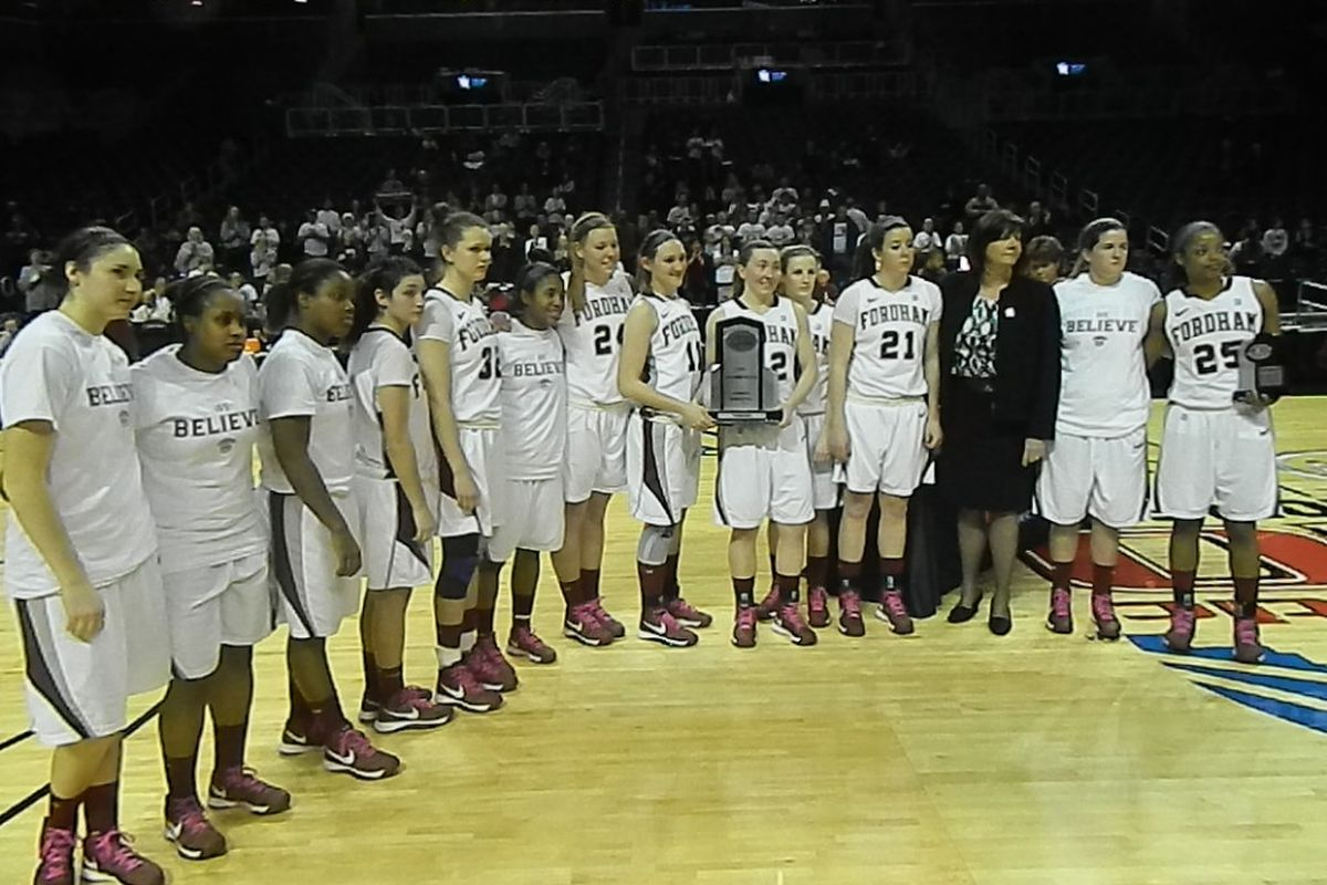 Fordham graciously accepted the runner-up award from A-10 Commissioner Bernadette McGlade.