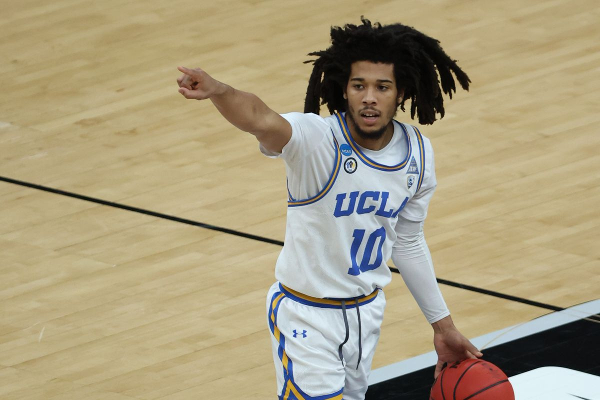 UCLA Bruins guard Tyger Campbell looks to make a play in the second half against the Abilene Christian Wildcats in the second round of the 2021 NCAA Tournament at Bankers Life Fieldhouse.