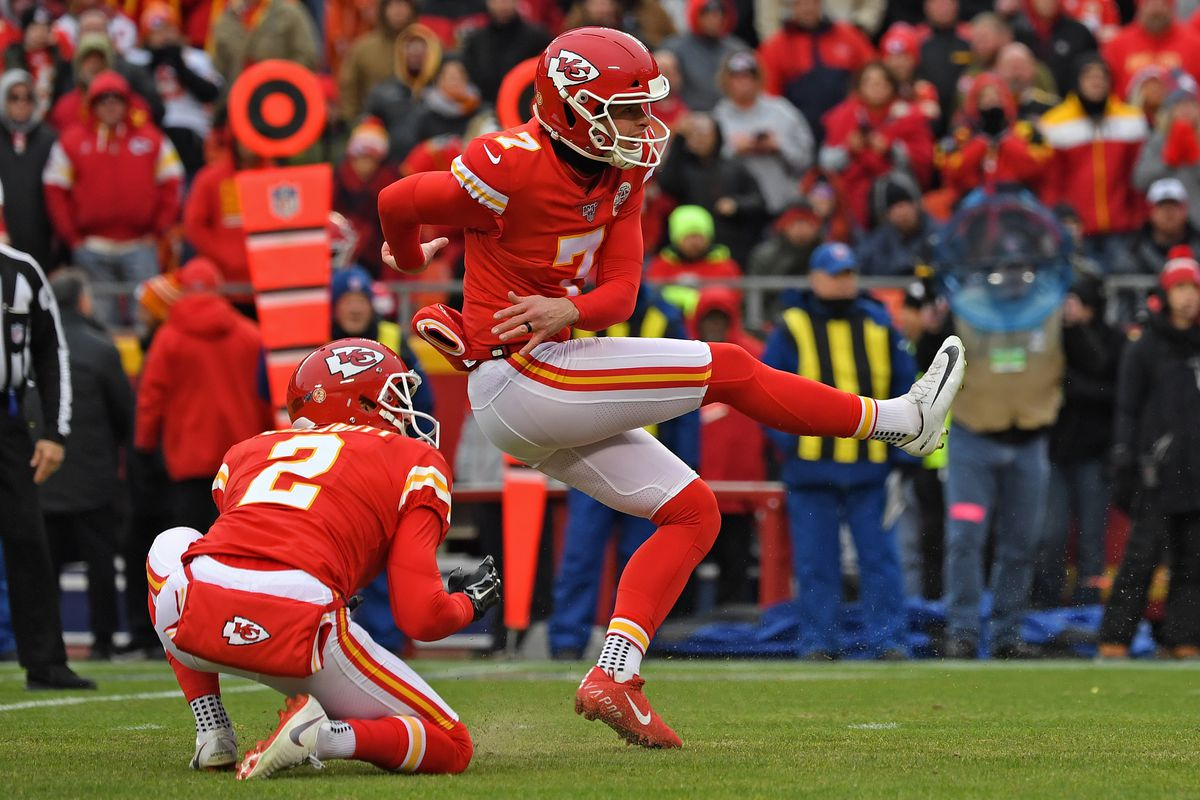 Kicker Harrison Butker #7 of the Kansas City Chiefs kicks an extra point against the Los Angeles Chargers during the second half at Arrowhead Stadium on December 29, 2019 in Kansas City, Missouri.