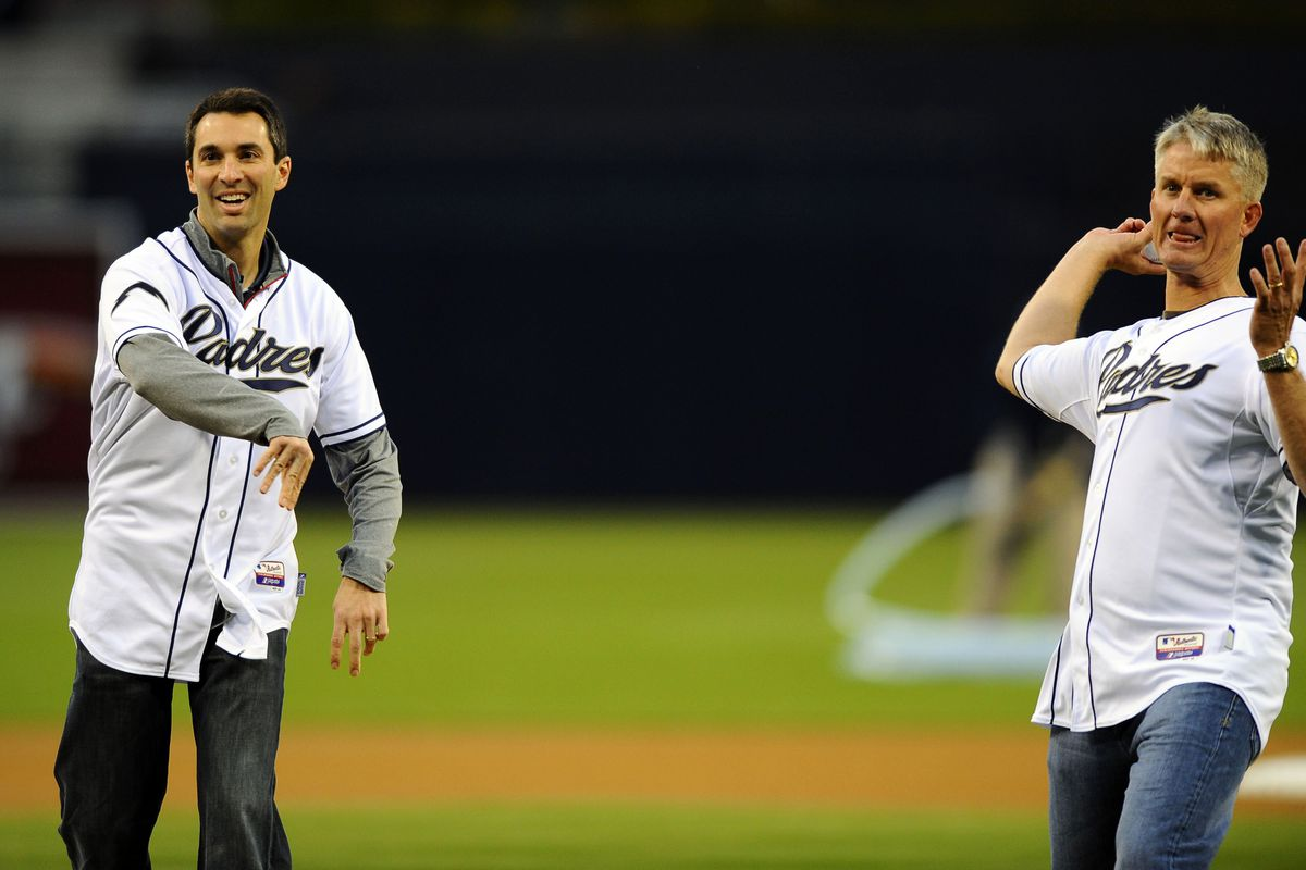 Tom Telesco and Mike McCoy demonstrate that even on the baseball diamond this is a football town. I'm only somewhat kidding.